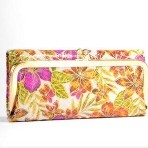 Hobo Rachel Trifold Tropical Garden Leather Wallet
